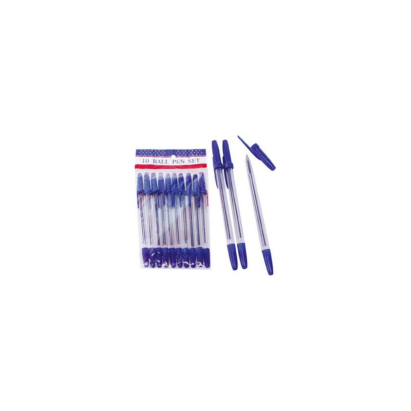 STYLOS A BILLE BLEU LOT DE 10