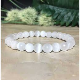 BRACELET SELENITE 8 MM HOMME