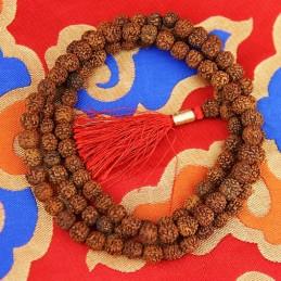 Mala Rudraksha 108 grains + floche rouge 0.9 cm