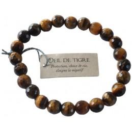 Bracelet pierres rondes facettées Oeil de Tigre -