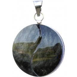 Pendentif yin yang obsidienne dorée - modèle rond