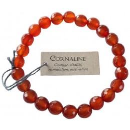 Bracelet pierres rondes facettées Cornaline