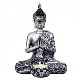 Bouddha avec bougeoir  argenté 20,5 cm
