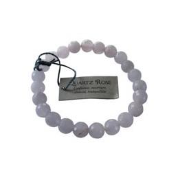 Bracelet pierres rondes facettées Quartz rose