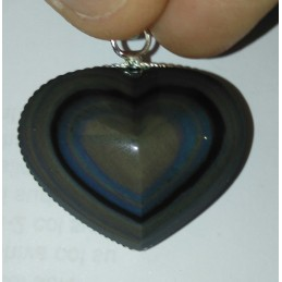 Pendentif coeur Obsidienne Oeil Céleste AAA - Monture torsadée ARGENT