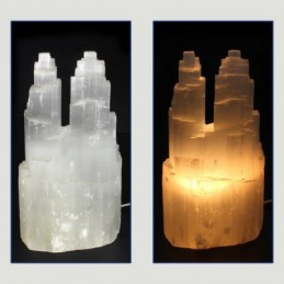 LAMPE DOUBLE EN SELENITE 25 CM