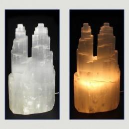 LAMPE DOUBLE EN SELENITE 25 CM