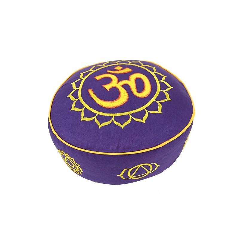 COUSSIN DE MEDITATION - ZAFU 7 Chakra et OM violet et or