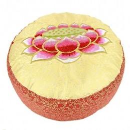 Coussin méditation Lotus rouge et jaune