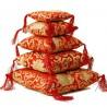 Coussin rouge fleuri pour bol tibétain 12cm
