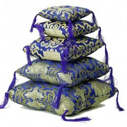 Coussin bleu fleuri pour bol tibétain 14cm