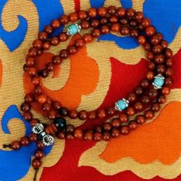 Mala de bois avec 108 perles ornementales et dorje MODELE 2