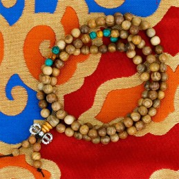 Mala de bois avec 108 perles ornementales et dorje MODELE 3