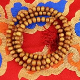 Mala bois de santal 108 perles + floche jaune 0.6 MM