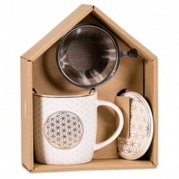 Boîte cadeau infuseur à thé Mug Fleur de Vie