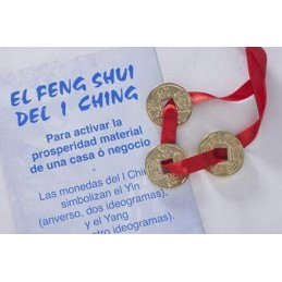 3 PIECES FENG SHUI LAITON DORE + RUBAN ROUGE