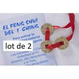 2 LOT DE 3 PIECES FENG SHUI LAITON DORE + RUBAN ROUGE