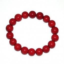 Bracelet corail teinte rouge boules 6mm