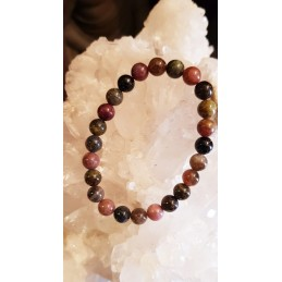 BRACELET DE TOURMALINE MULTICOLORE ROND 8mm