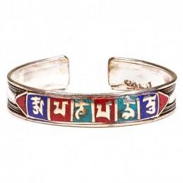 Bracelet Om Mani Peme Hum en métal blanc