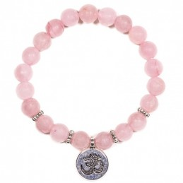 BRACELET MALA QUARTZ ROSE PERLE  8MM