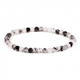 BRACELET QUARTZ A TOURMALINE PERLE  4/5MM