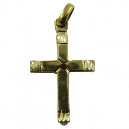 Amulette Croix de protection + cristal rouge 4 cm