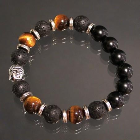 Bracelet homme 10mm oeil tigre lave onyx