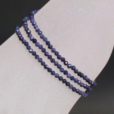 Bracelet - collier 3mm facetté saphir