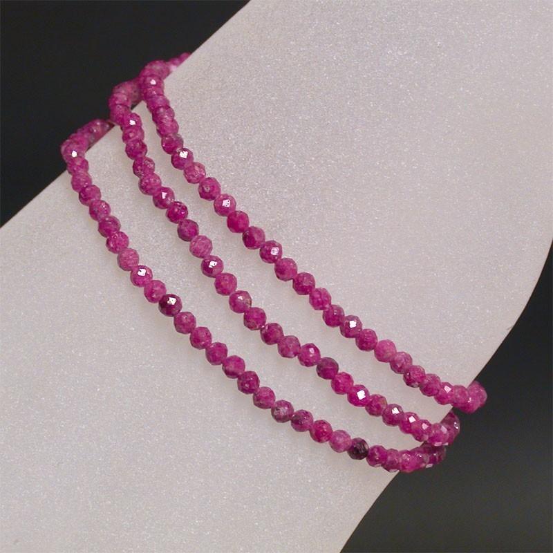Bracelet - collier 3mm facetté rubis