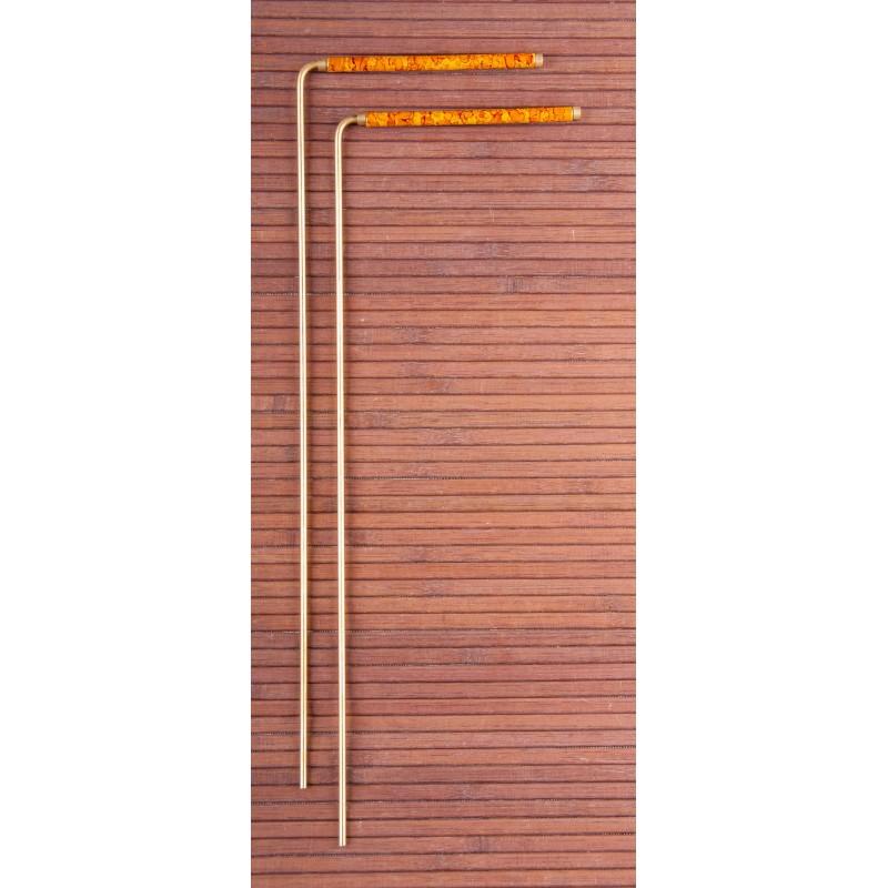 BAGUETTE RADIESTHESIE LAITON ET CUIVRE AVEC POIGNET 34cm
