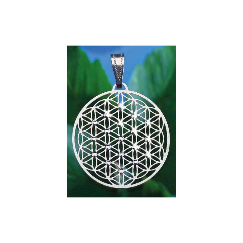 PENDENTIF FLEUR DE VIE 19 perles Swarovski PLAQUE OR 3 CM