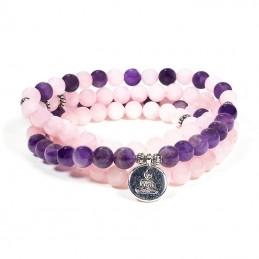 Mala en quartz rose / améthyste bouddha sur fil elastique