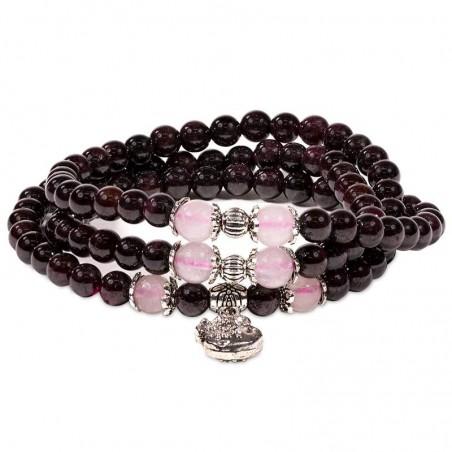 Bracelet GRENAT / QUARTZ ROSE CREATION