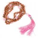 Mala Rudraksha et Quartz rose 108 perles