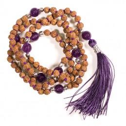 Mala Rudraksha et AMETHYSTE 108 perles