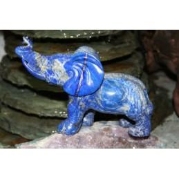 MAGNIFIQUE ELEPHANT EN LAPIS LAZULI 10 X 18 CM POUR COLLECTIONNEUR